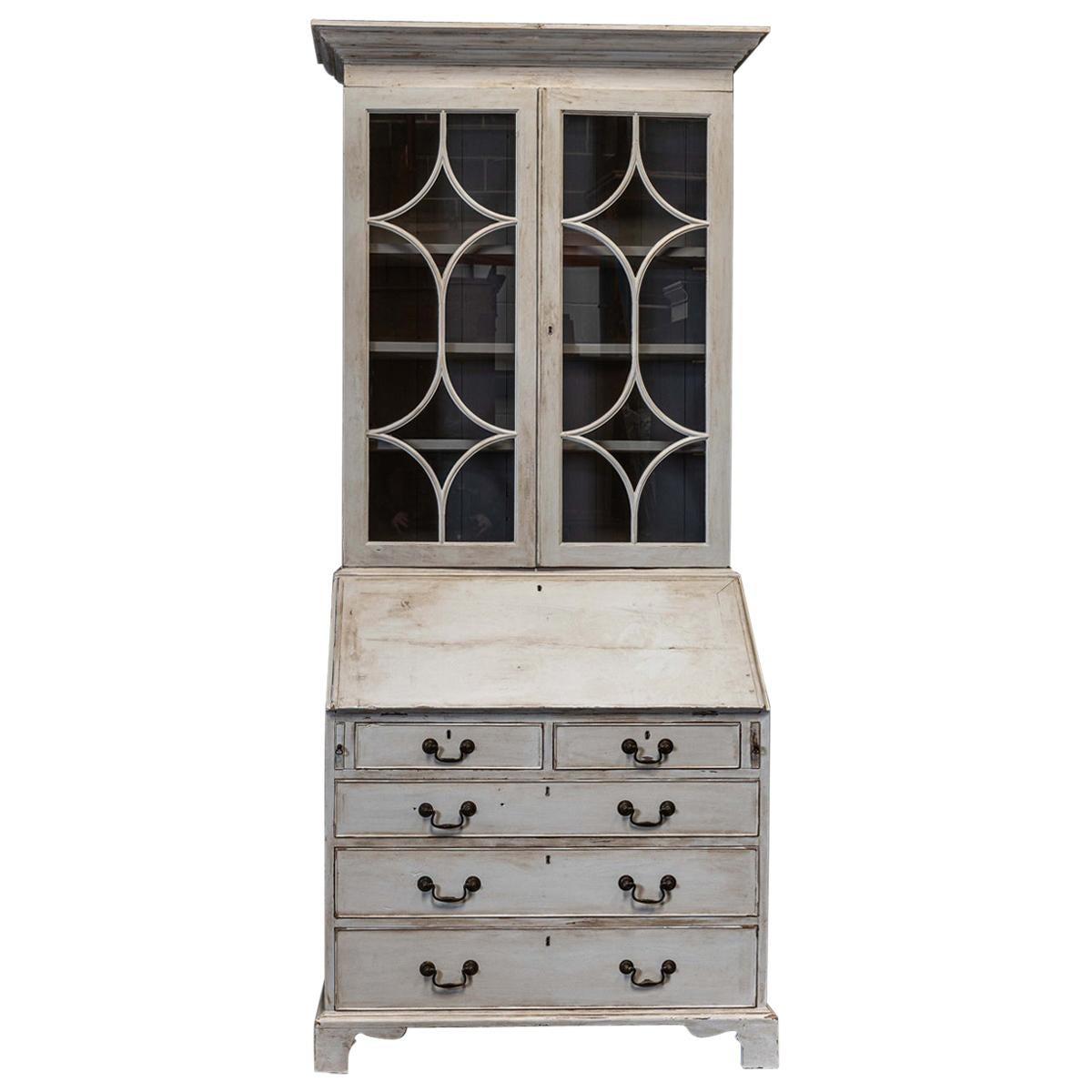 19th Century English Painted Glazed Bookcase Bureau