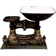 19th Century English Painted Iron Scale with Three Weights