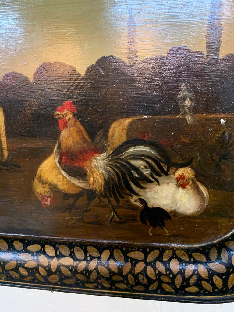 Lovely hand painted 19th century English tole tray. Depicts a rural scene with roosters and other birds. Very fine quality and amazing detail on this piece!