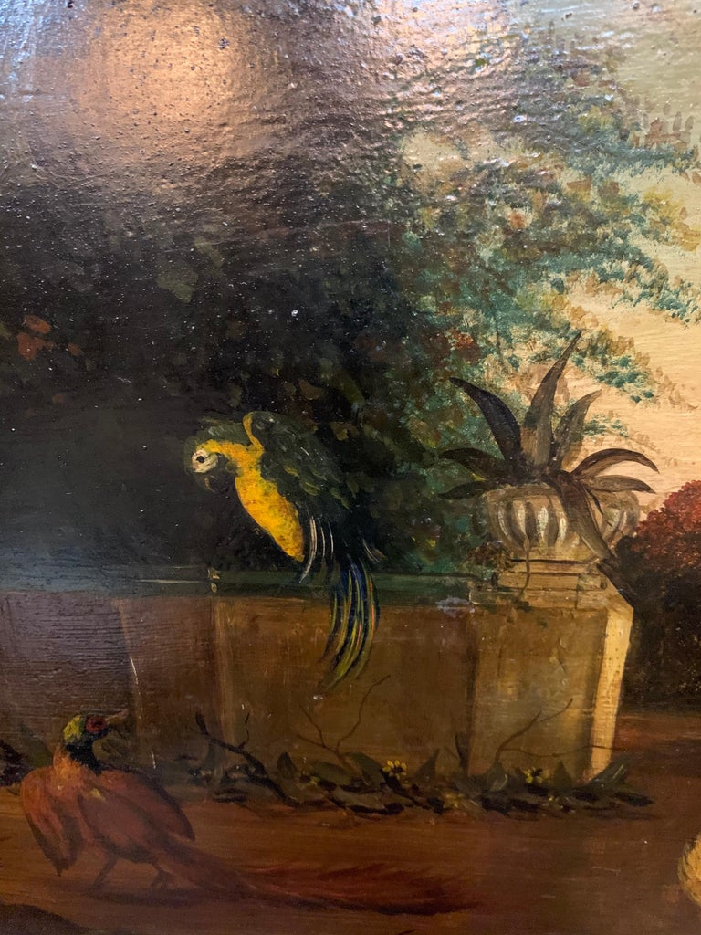 Hand-Painted 19th Century English Painted Tole Tray with Roosters For Sale