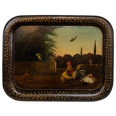 19th Century English Painted Tole Tray with Roosters