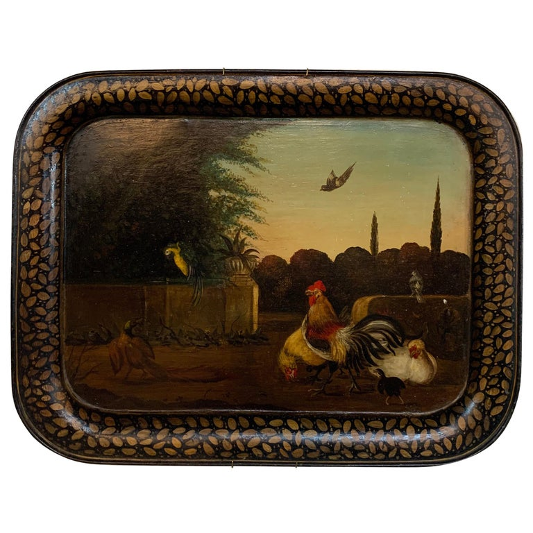 19th Century English Painted Tole Tray with Roosters For Sale
