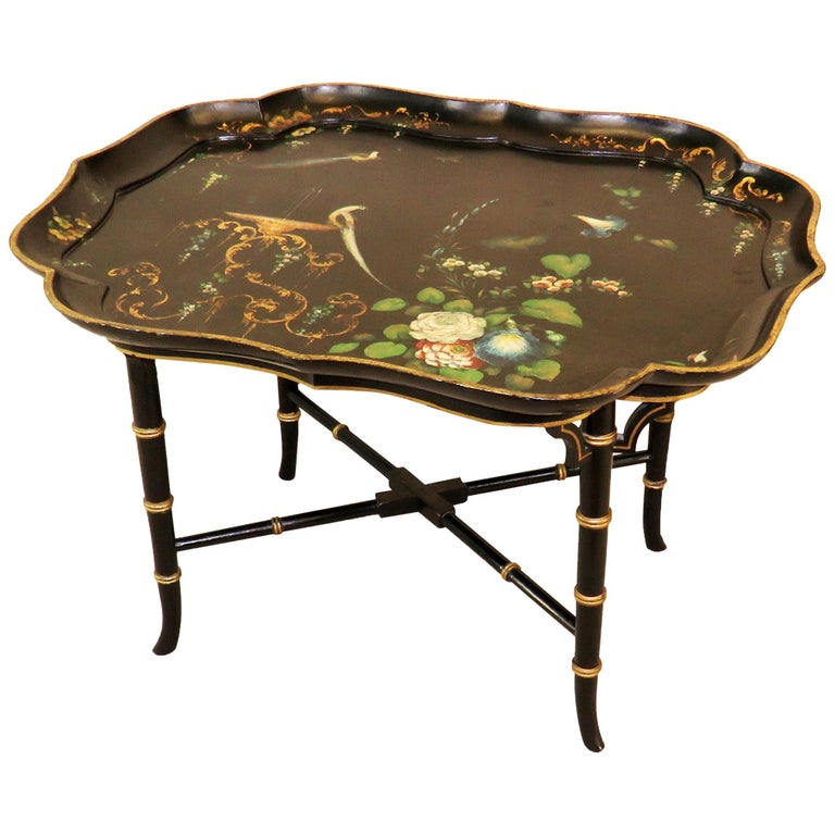 19th Century English Papier Mâché Tray Top Coffee Table