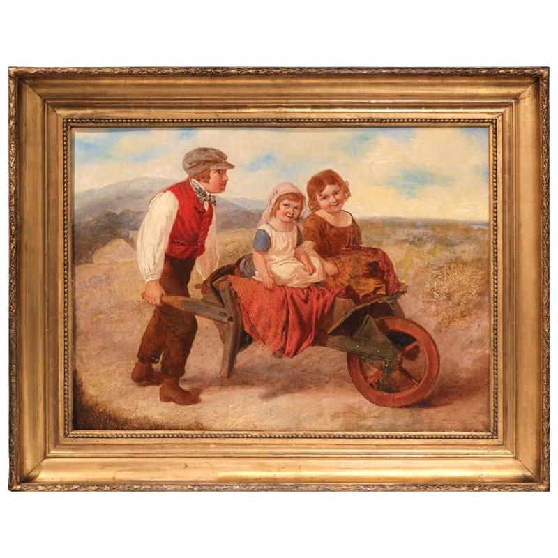 19th Century English Pastoral Scene Oil Painting in Gilt Frame Signed A. Green