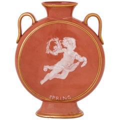 19th Century English Pate-sur-Pate and Parcel-Gilt Moon Vase