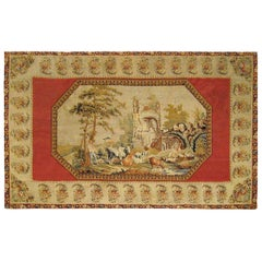 19th Century English Pictorial Needlepoint Tapestry