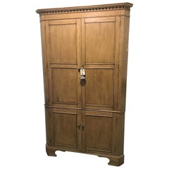19th Century English Pine Corner Cupboard or Cabinet