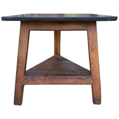 19th Century English Pine Cricket Table with Square Top