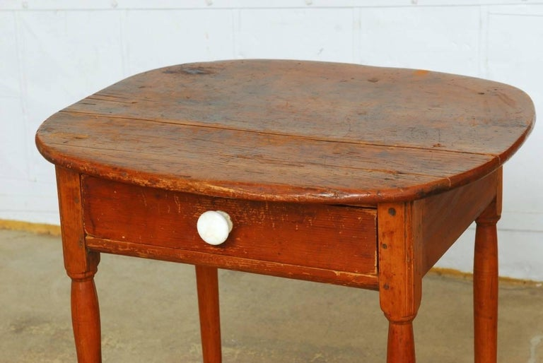 19th Century English Pine Farmhouse Table With Drawer For