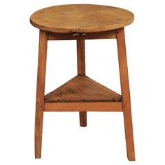 19th Century English Pine Round Cricket Table