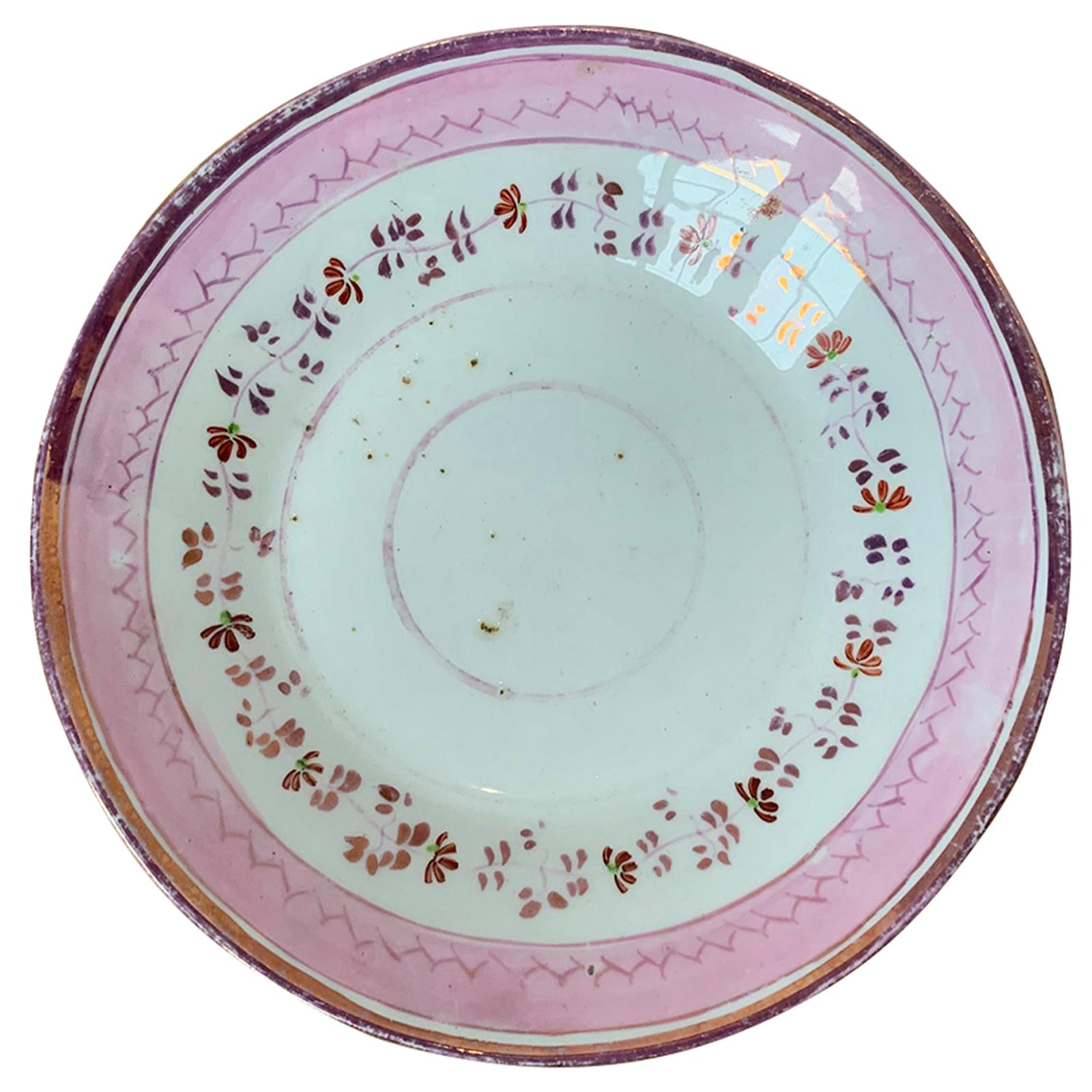 19th Century English Pink Floral Lusterware Round Porcelain Plate, Unmarked