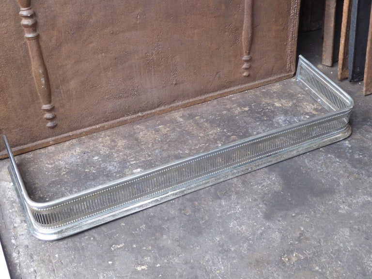 British 19th Century English Polished Steel Fireplace Fender or Fire Fender For Sale