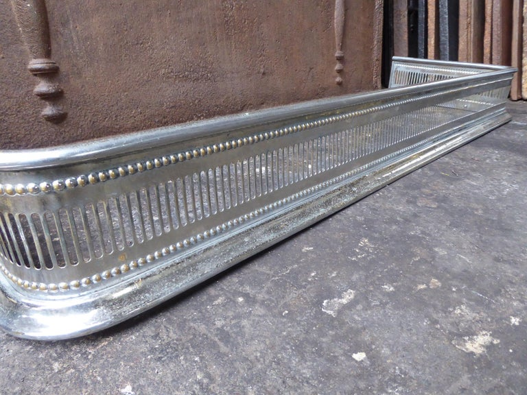 19th Century English Polished Steel Fireplace Fender or Fire Fender For Sale 1