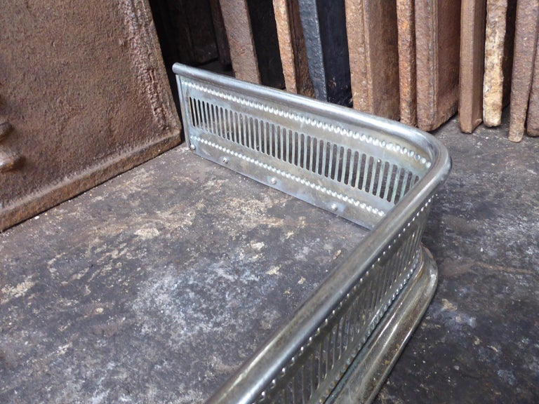 19th Century English Polished Steel Fireplace Fender or Fire Fender For Sale 2