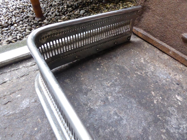 19th Century English Polished Steel Fireplace Fender or Fire Fender For Sale 3