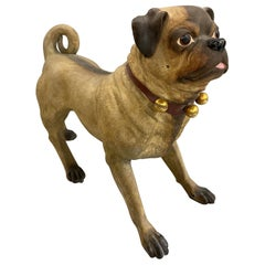 19th Century English Polychrome Composition Pug Dog by Moore for T. Goode & Co