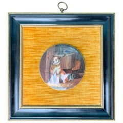 "19th Century English Prattware Porcelain Pot Lid ""Low Life"" in Custom Frame"
