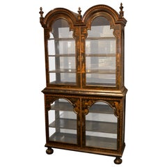 19th Century English Queen Anne Black Chinoiserie Decorated Display Cabinet