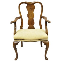 19th Century English Queen Anne Carved Burr Walnut Splat Back Dining Armchair
