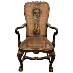 19th Century English Queen Anne Chinoiserie High Back Armchair
