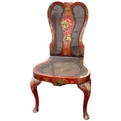 19th Century English Queen Anne Red Lacquered Chinoiserie Side Chair