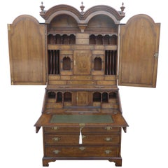 19th Century English Queen Anne Style Burr Walnut Secretary Bookcase