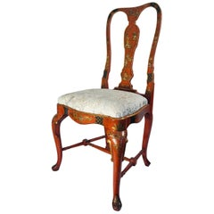 19th Century English Queen Anne Style Chinoiserie Scarlett Lacquer Side Chair
