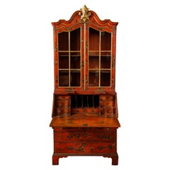 19th Century English Red Lacquer Secretary
