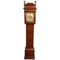 19th Century English Red Lacquered Chinoiserie Tall Case Clock