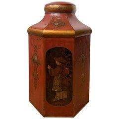 19th Century English Red Tole Tea Tin by Barlett & Son, Welch Back, Bristol