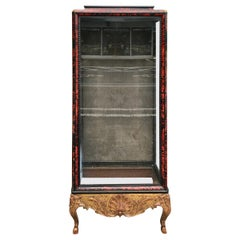 """19th Century English Red """"Tortoiseshell"""" and Giltwood Display Cabinet"""