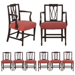 19th Century English Regency Antique Carved Mahogany Dining Chairs, Set of 8