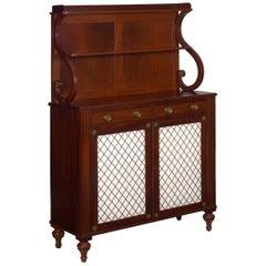 19th Century English Regency Antique Mahogany Chiffonier Cabinet with Bookshelf