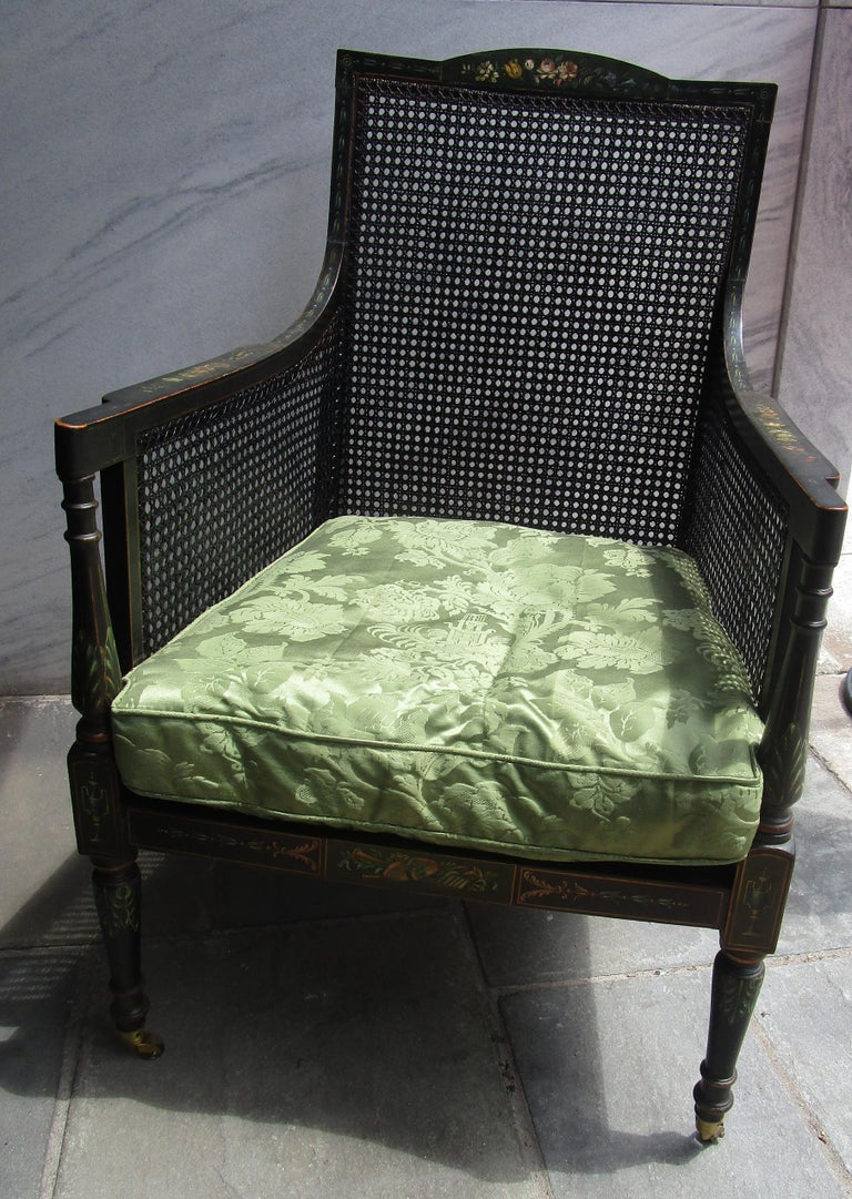 19th Century English Regency Bergere Chair Painted Ebonized Wood and Cane  For Sale 15