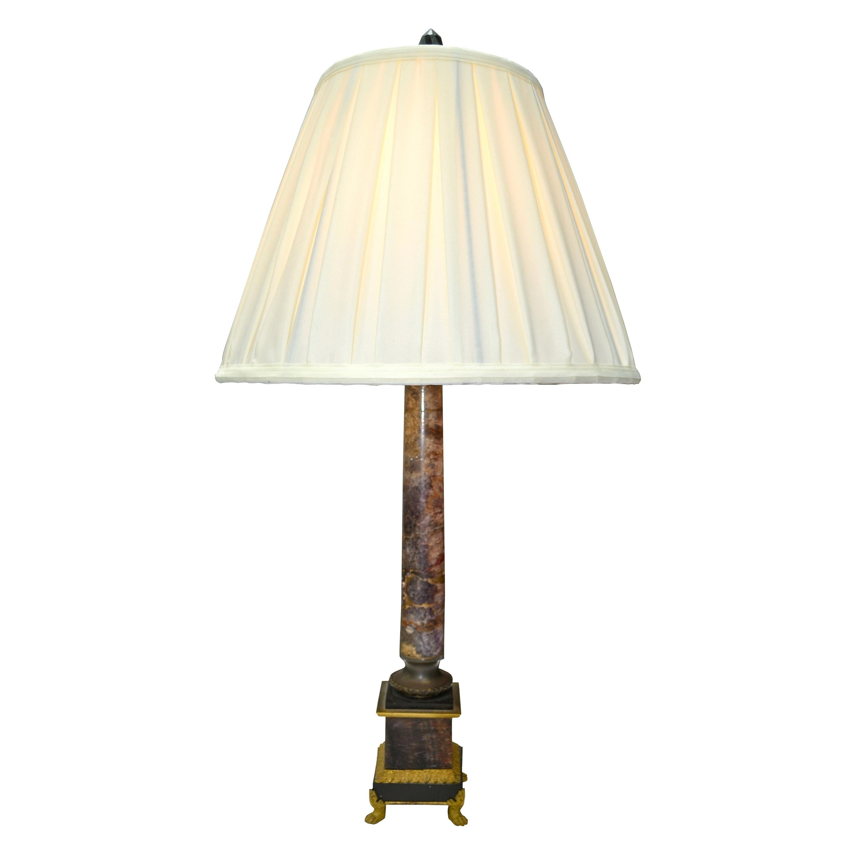 19th Century English Regency Blue John and Gilt Bronze Corinthian Column Lamp