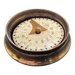 19th Century English Regency Brass Pocket Sundial Compass