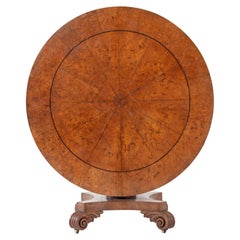 19th Century English Regency Burr Oak Tilt Top Table
