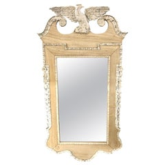 19th Century English Regency Carved and Bleached Mahogany Mirror