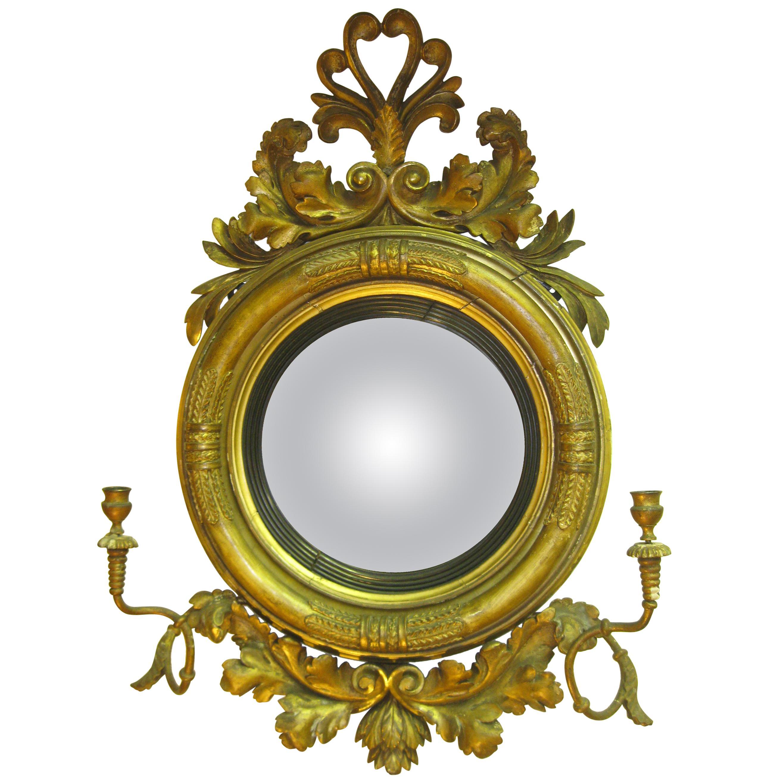 19th century English Regency Gilded Wood Convex Bull's-Eye Mirror