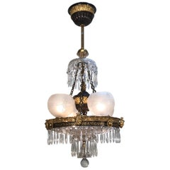 19th Century English Regency Crystal and Bronze Gasolier, Johnston Brookes & Co.