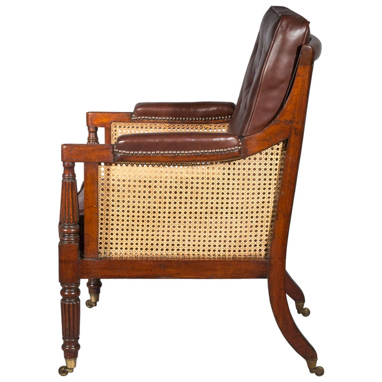 19th Century English Regency Gillows Mahogany Caned Bergère Armchair  7