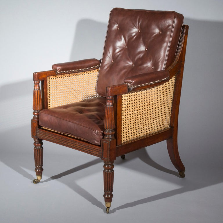 19th Century English Regency Gillows Mahogany Caned Bergère Armchair  In Good Condition In London, GB