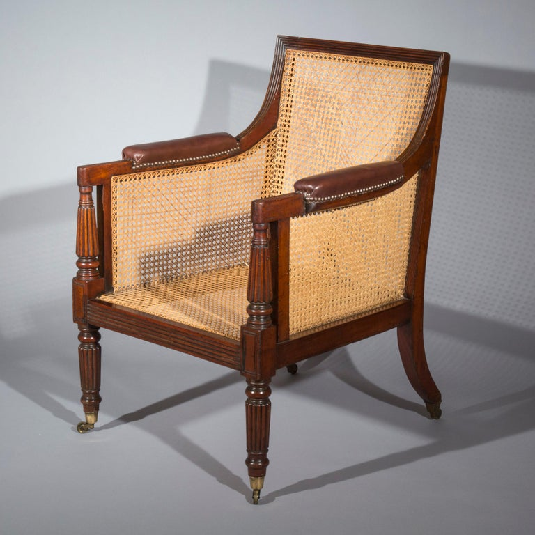 19th Century English Regency Gillows Mahogany Caned Bergère Armchair  1