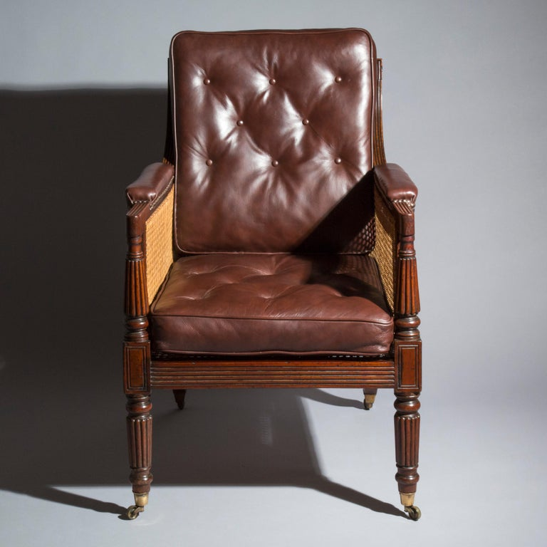 19th Century English Regency Gillows Mahogany Caned Bergère Armchair  2