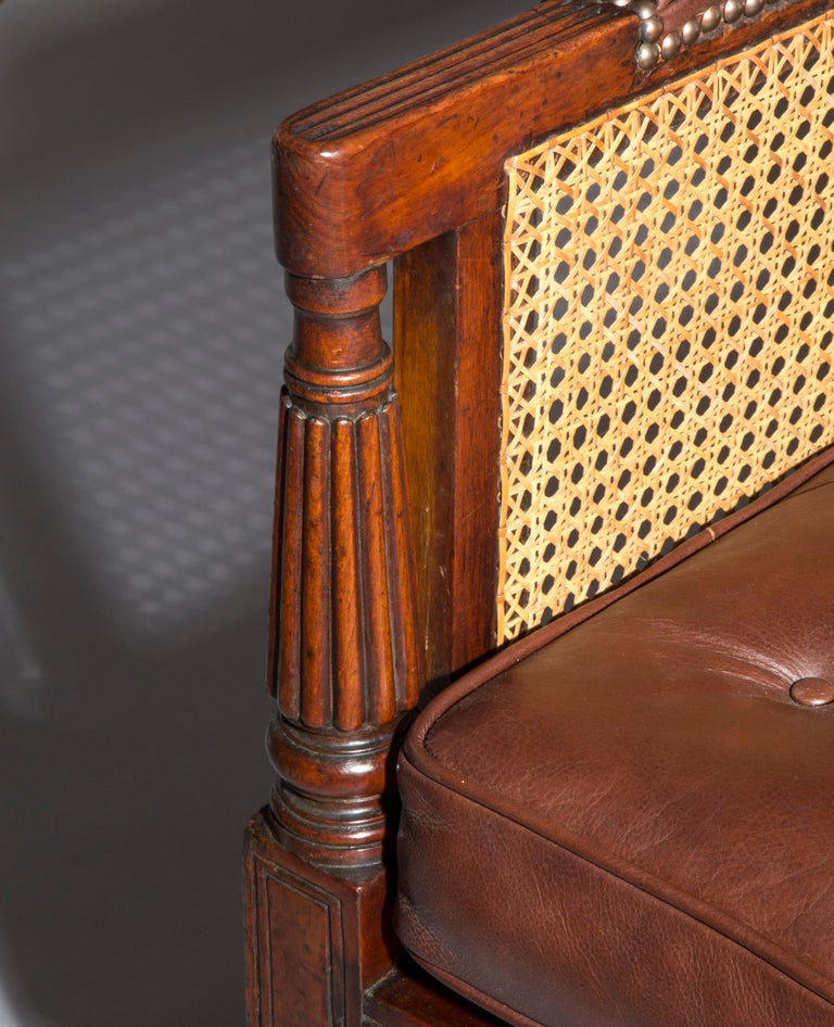 19th Century English Regency Gillows Mahogany Caned Bergère Armchair  4