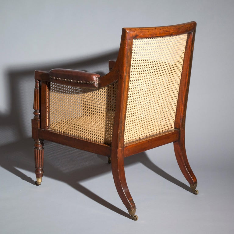 19th Century English Regency Gillows Mahogany Caned Bergère Armchair  5
