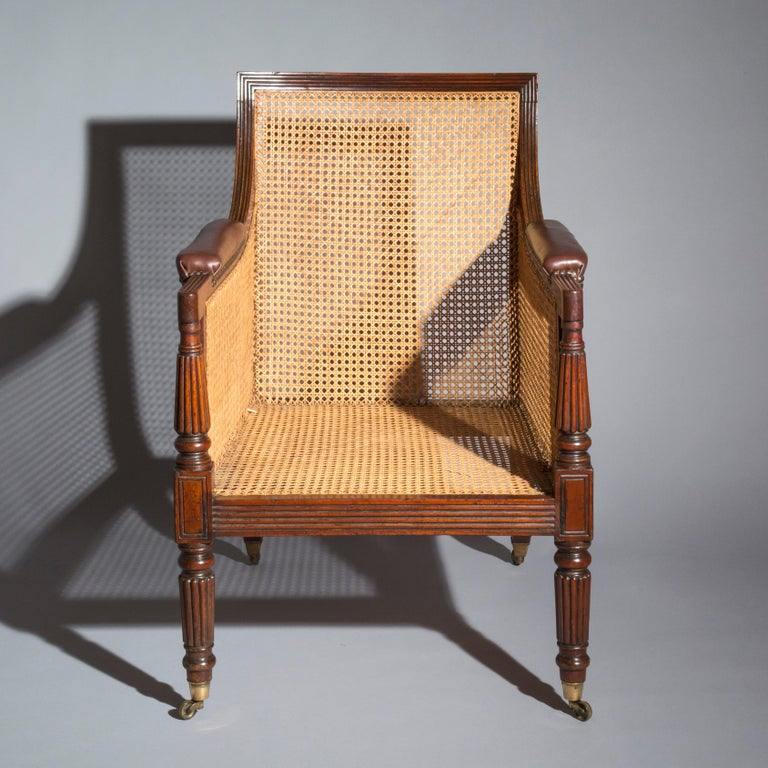 19th Century English Regency Gillows Mahogany Caned Bergère Armchair  6