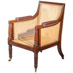 19th Century English Regency Gillows Mahogany Caned Bergère Armchair