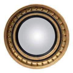 19th Century English Regency Gilt Convex Mirror with Acorns