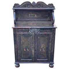 19th Century English Regency Green Chinoiserie Decorated Chiffonier